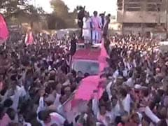 A hero's welcome for K Chandrasekhar Rao in Hyderabad