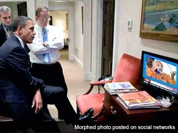 Morphed photo shows Barack Obama watching Narendra Modi speech