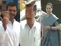 Sonia Gandhi, Rahul Gandhi, Arvind Kejriwal vote in Delhi