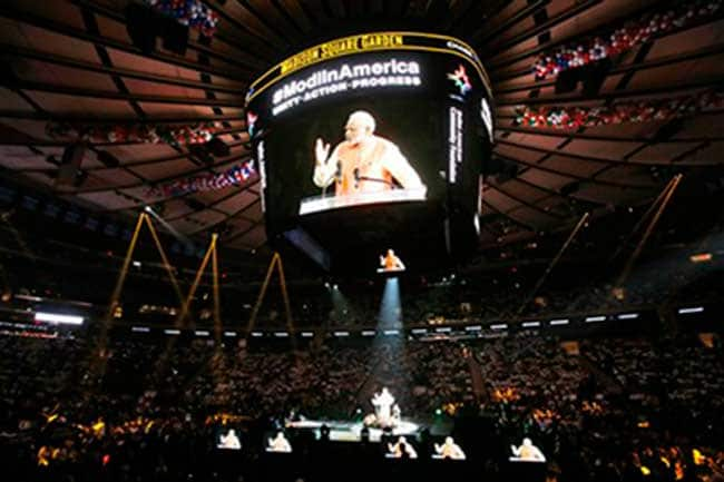 narendra modi madison square garden Narendra modi in front of 22,000 people in madison square garden declared that we are not a nation of beggars and snake charmers but a nation of rulers.