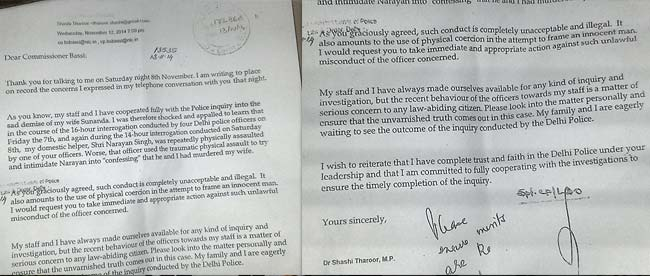 'Cops Tried to Pressure Domestic Help to Say That He and I Killed Sunanda,' Shashi Tharoor Wrote to Delhi Police Chief BS Bassi