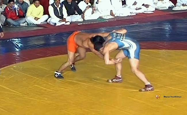 Yoga Guru Ramdev Wrestles, Minister Gadkari Watches