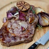 Angela Hartnett's Rib-Eye Steak With Red Onions Recipe
