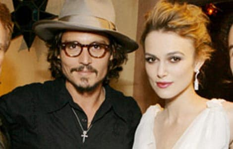 "Photo of Keira Knightley & her friend actor  Johnny Depp - Movie ""Pirates of the Caribbean"""
