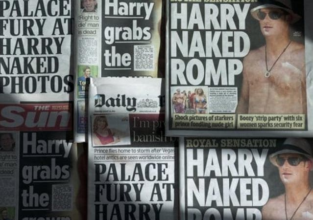Prince Harry's naked photos published in The Sun