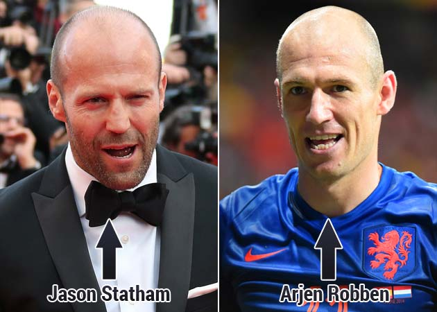 Celebrity Lookalikes: Netherlands' Arjen Robben and Actor Jason Statham #SameGuy