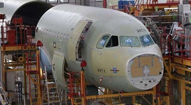 An A320 plane under construction in China.