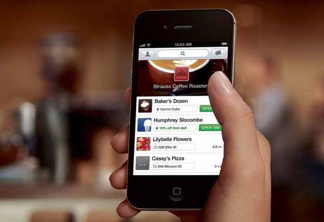 With the Pay With Square app, consumers can use their mobile phone to pay a merchant and get more information.