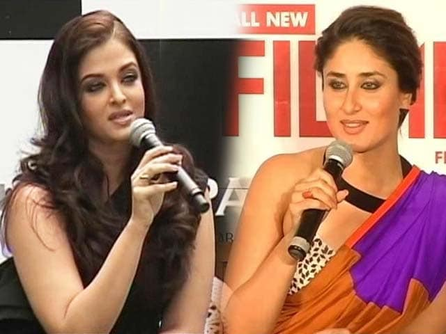 Video : Kareena unveils Filmfare cover, Ash brings Surat to standstill