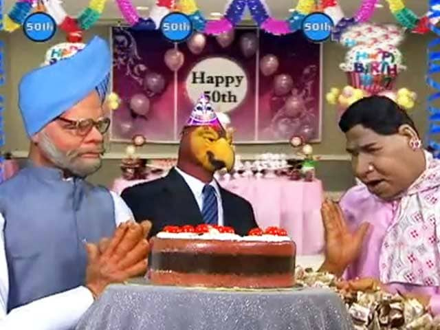 Video : Politicians celebrate 50th birthday of 'parrot' CBI