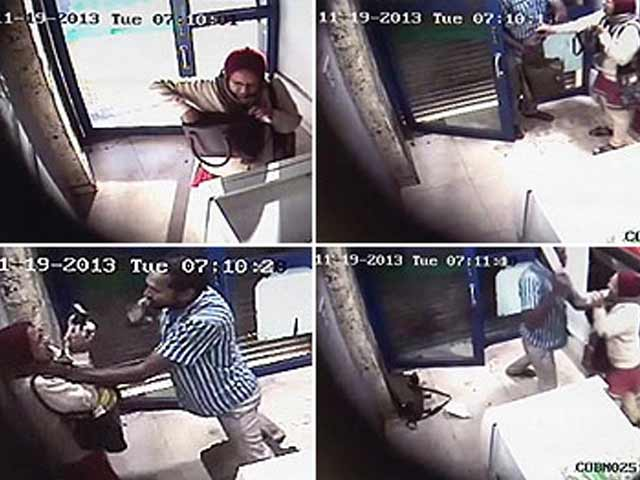 Video : Caught on CCTV: woman attacked with machete at Bangalore ATM