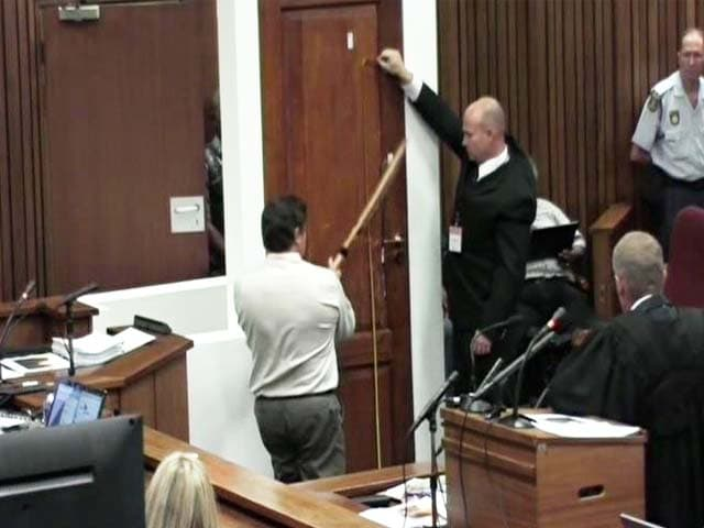 Video : Oscar Pistorius murder trial: Cricket bat used to smash toilet door, says forensic analyst