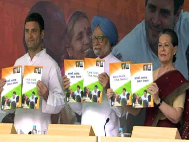 Video : Don't go by opinion polls, says Sonia as Congress releases manifesto