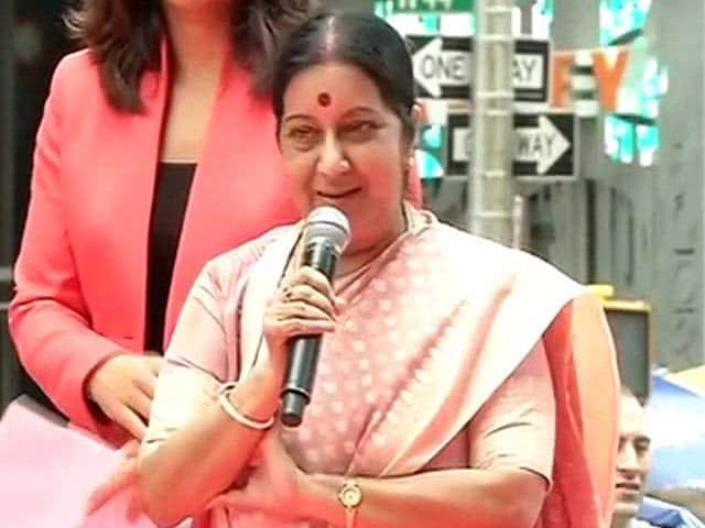 Video : 'Yoga is Best Thing to Turn to When Anti-Depressants Don't Work': Sushma Swaraj at New York's Times Square