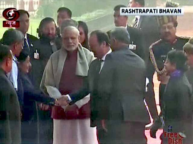 Video : Ceremonial Reception For French President At Rashtrapati Bhavan