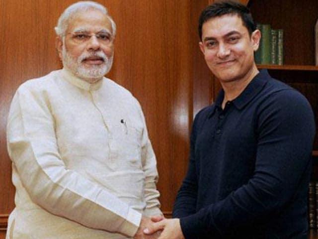 'मेक इन इंडिया वीक प्रोग्राम' में आमिर और पीएम मिले