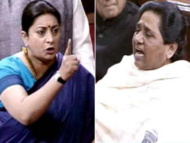 Video : 'Who Uses A Child As A Political Tool?': Smriti Irani vs Mayawati