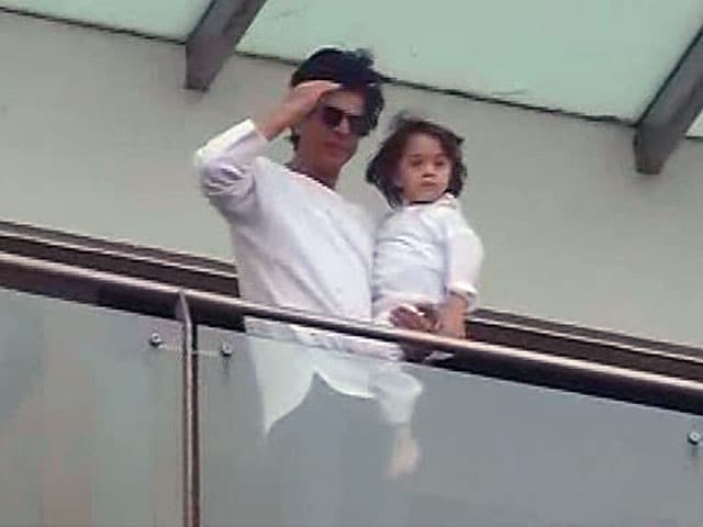 Eid Mubarak. Love, Shah Rukh and AbRam Khan