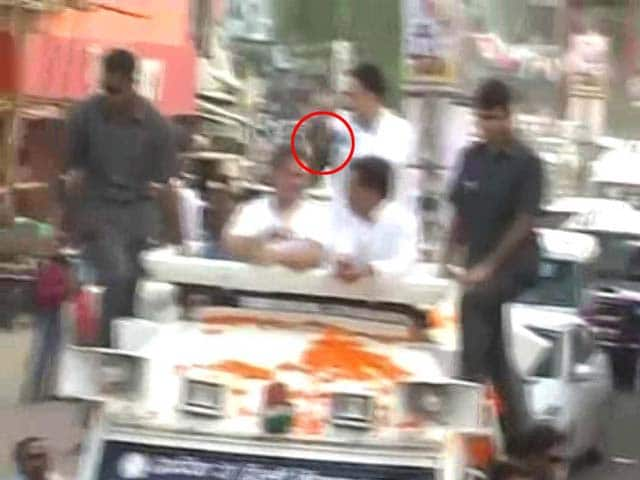 Shoe Thrown At Rahul Gandhi During Roadshow In UP's Sitapur