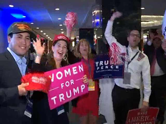 Video : As Trump Gains Lead, Elated Supporters Cheer Him On