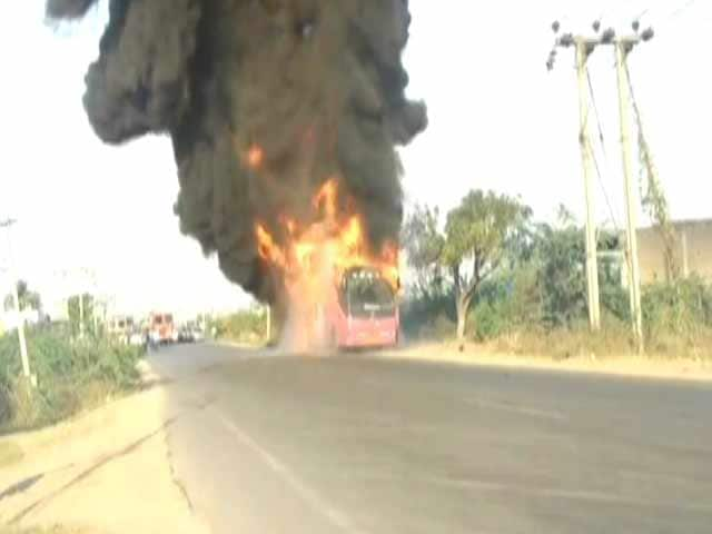 Video : 30 Passengers Survived This. Telangana Bus Was In Flames Within Moments
