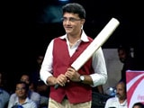 Sourav Ganguly Plays Cricket With Children on the Stage