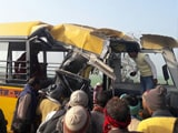 Video : 15 Children Feared Dead After School Bus Collides With Truck In Aliganj In UP's Etah