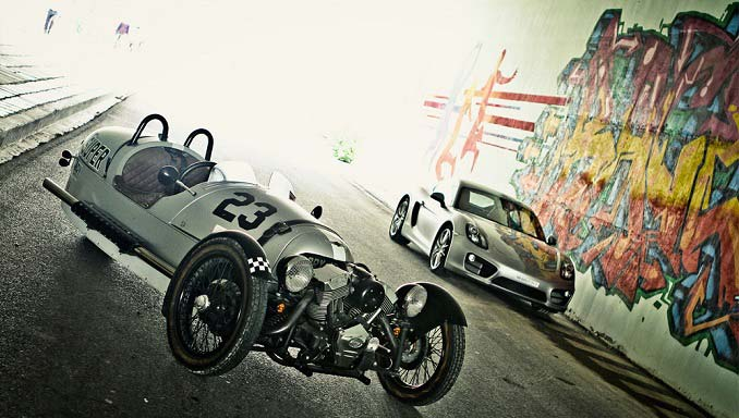 Motoring Nirvana: Porsche Cayman S and Morgan 3 Wheeler