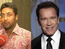 Suriya Meets his Fitness Idol Arnold Schwarzenegger