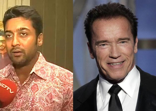 Suriya Meets his Fitness Idol Arnold Schwarzenegger