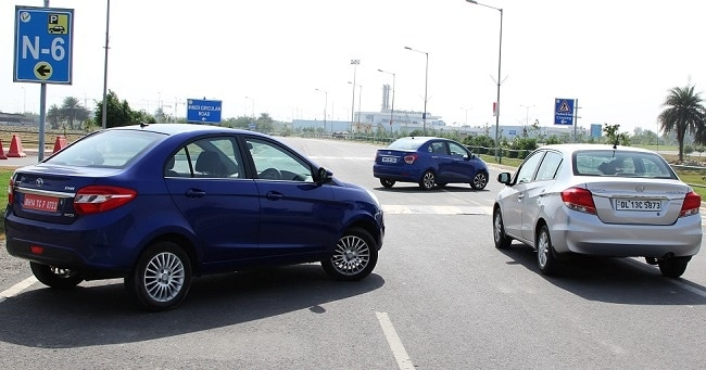 Honda Amaze vs Hyundai Xcent vs Tata Zest comparison review