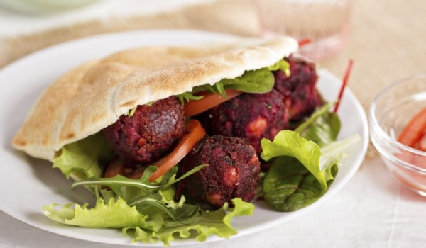 Beet and Arbi Falafal with Homemade Pickles
