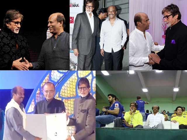 5 Epic Photos of Rajinikanth, Amitabh Bachchan Catching Up