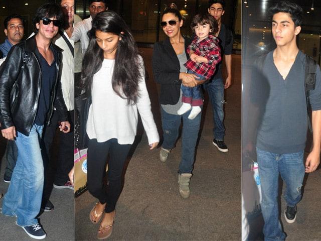 Shah Rukh, Gauri Return Home With AbRam, Suhana and Aryan