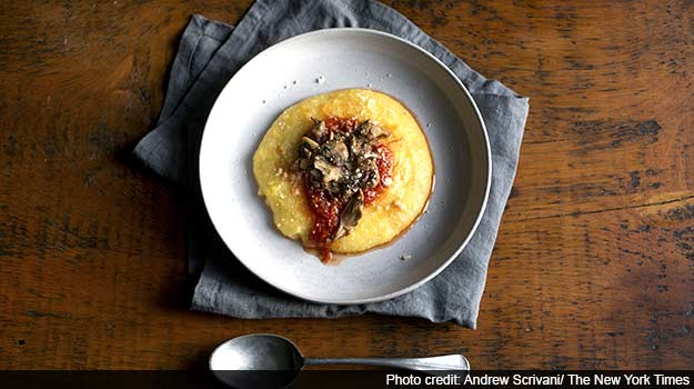Polenta With Wild Mushrooms and Marinara Sauce