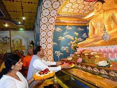 Sri Lankan President Maithripala Sirisena Visits Mahabodhi Temple