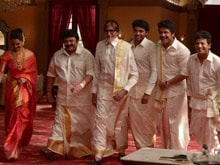 <i>Dhoti</i>-Clad Amitabh Bachchan Shoots with Southern Stars