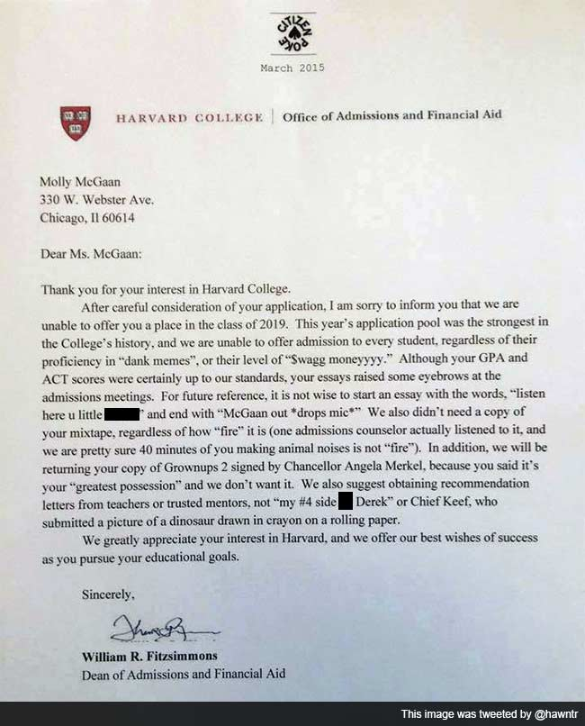 Hilarious Letter of Rejection (From Harvard, Apparently) is Driving Twitter Crazy