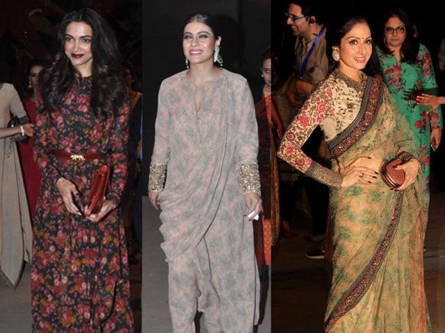 In Sabyasachi's Front Row: Deepika Padukone, Sridevi, Kajol. Dressed in Sabya