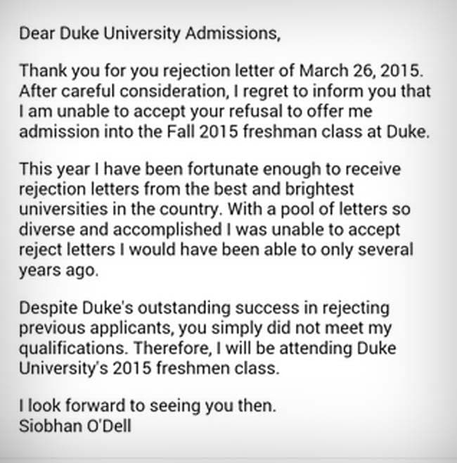 Viral Year Old Student Rejects A UniversityS Rejection Letter