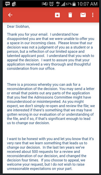 Going viral 17 year old student rejects a universitys rejection letter duke university then responded to her letter saying they understand how disappointed she is please know that our decision was not a judgement of you as a altavistaventures Choice Image