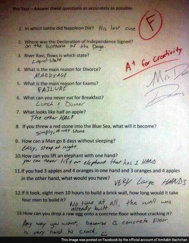 The Funniest Answers To Test Questions You Will Ever Read Thank You