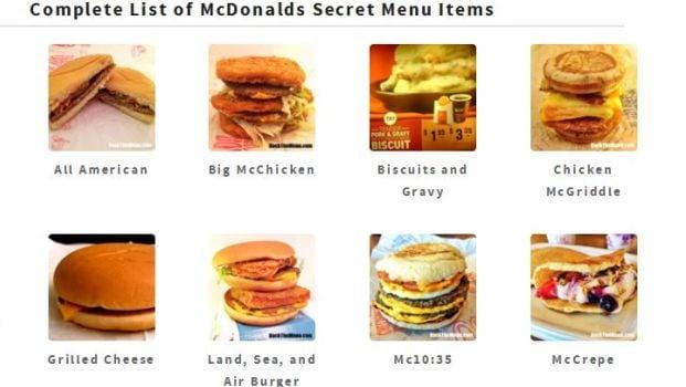 mcdonalds off menu
