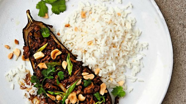 Thomasina Mier's Recipes for Roast Aubergines with Szechuan Fragrant Pork