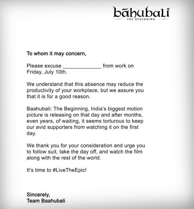 For Baahubali A Film On Facebook And A Viral Leave Letter