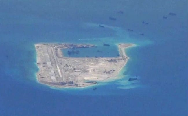 Images Show Chinese Airstrip on Man-Made Spratly Island Nearly Finished