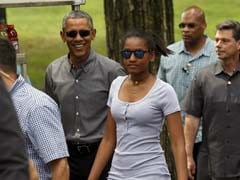 A Man, His Kids, Helicopters and Security Men: Barack Obama in New York's Central Park