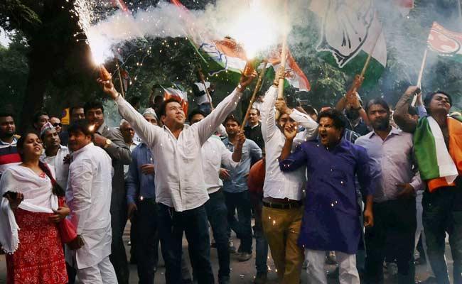 Celebrations Erupt at Congress Headquarters After Bihar Poll Results