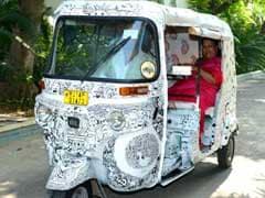 Vasundhara Raje Takes a Ride on Jaipur's New Colourful Auto Rickshaws