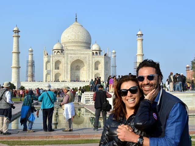 Eva Longoria, Fiance Visit Taj Mahal, 'Can't Leave Without Jumping Photo'
